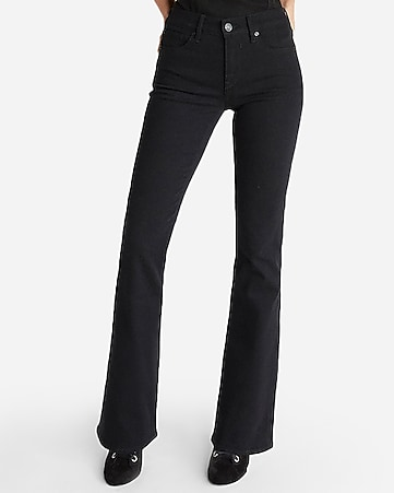 mid rise black stretch bootcut jeans