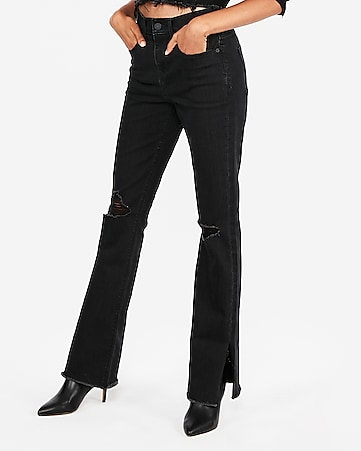 dbf82514e5d Express View · high waisted black ripped bootcut jeans
