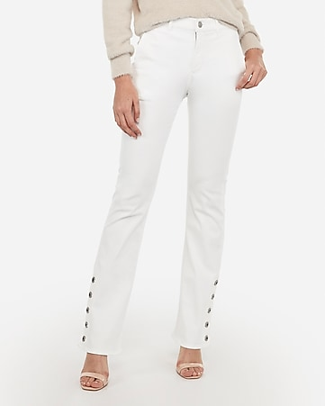 high waisted white button hem boot jeans
