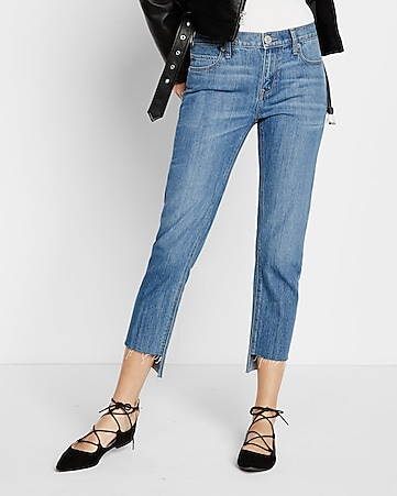 mid rise raw step hem girlfriend jeans