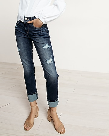 mid rise distressed cuffed stretch+ performance cropped skinny jeans