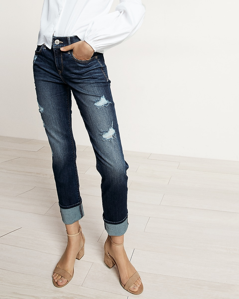 Mid Rise Distressed Cuffed Stretch  Performance Cropped Skinny ...