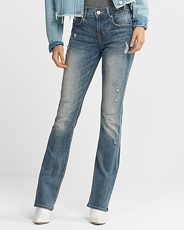 mid rise distressed stretch barely boot jeans