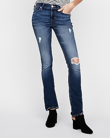 mid rise ripped barely boot jeans