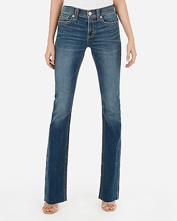 mid rise raw hem thick stitch barely boot jeans