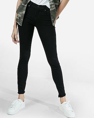 mid rise black jean leggings