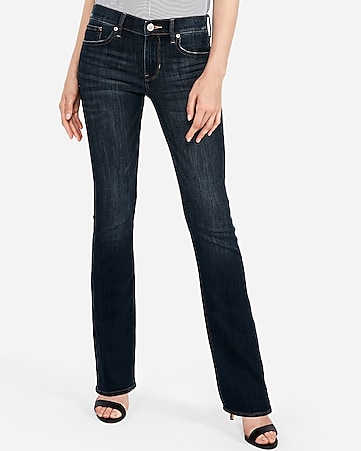 mid rise dark wash barely boot jeans
