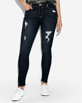 Petite mid rise ripped jean leggings