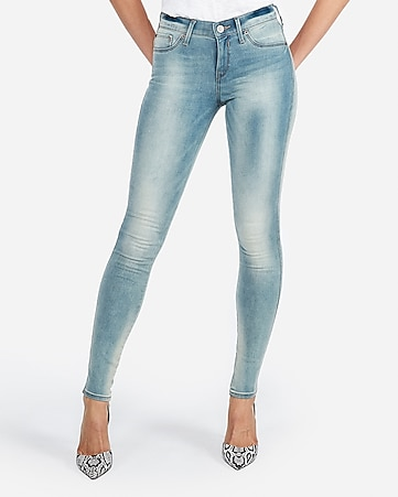 mid rise faded jean leggings