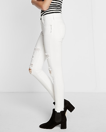 white mid rise released hem stretch ankle jean legging