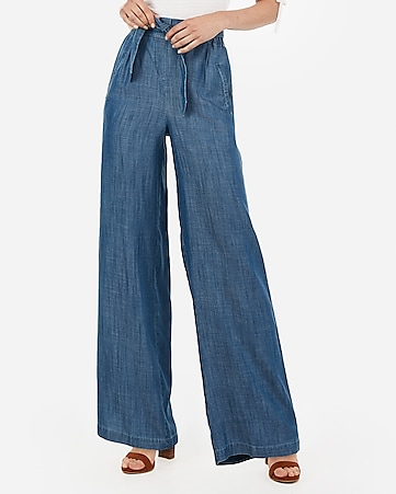 high waisted chambray belted wide leg jeans