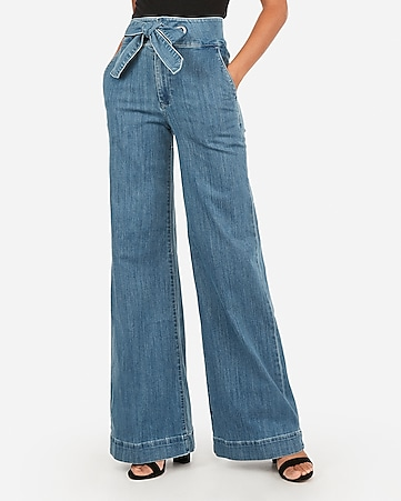 super high waisted sash tie wide leg jeans