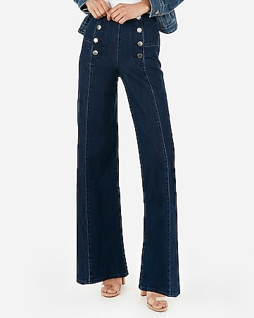 super high waisted button front wide leg jeans