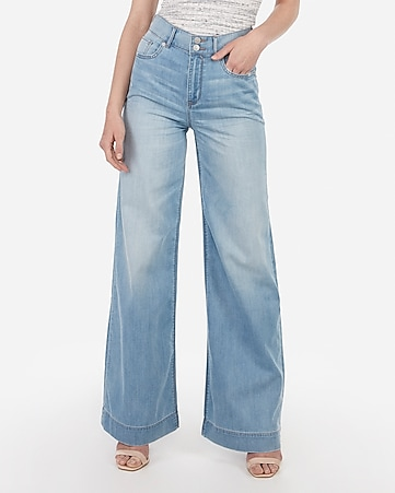 high waisted lightweight light wash wide leg jeans