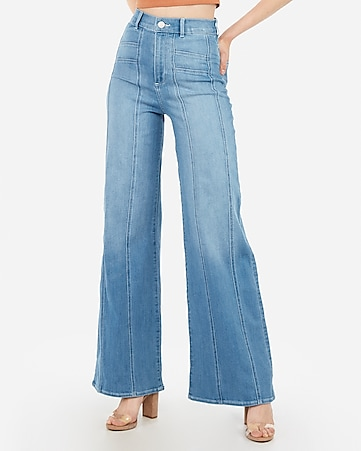 super high waisted seamed wide leg jeans
