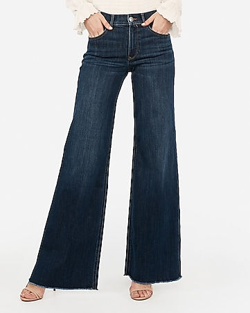 high waisted dark wash wide leg jeans