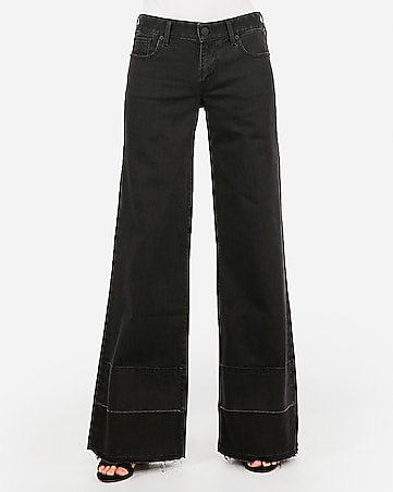 low rise original black raw hem wide leg jeans