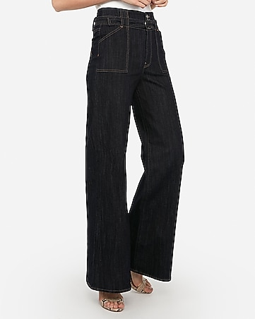 super high waisted dark wash wide leg jeans