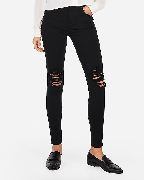 super quality exclusive range cute cheap High Waisted Black Ripped Jean Leggings