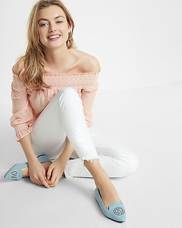white mid rise eyelet detail stretch ankle jean legging