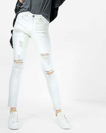 white high waisted distressed stretch ankle jean legging