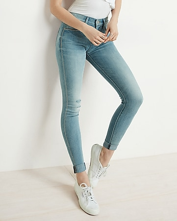 mid rise embroidered cuffed stretch ankle jean legging
