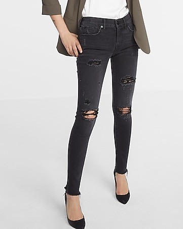 black mid rise destroyed stretch ankle jean legging