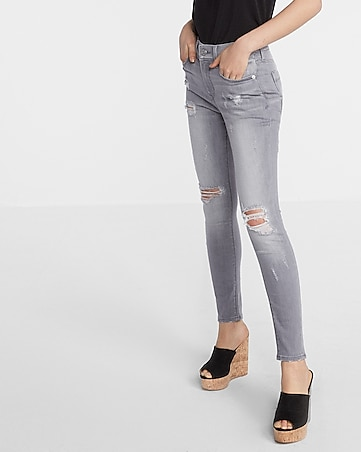gray mid rise distressed stretch ankle jean legging