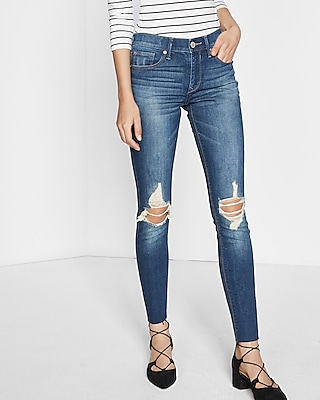 Mid Rise Distressed Knee Stretch Ankle Jean Legging | Express