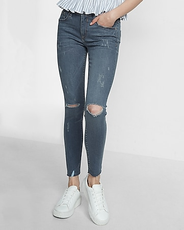 mid rise distressed stretch ankle jean legging