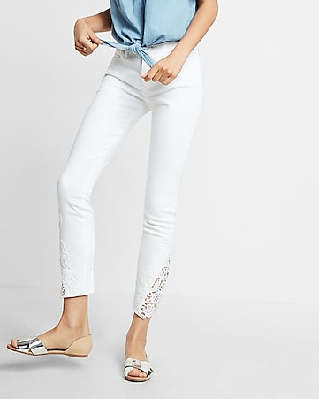mid rise lace inset stretch ankle jean legging
