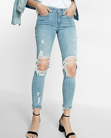 mid rise distressed frayed stretch ankle jean legging