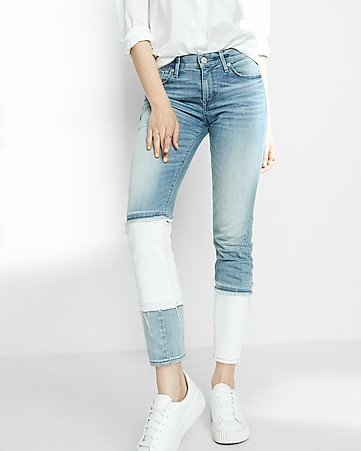 mid rise pieced stretch super skinny ankle jeans