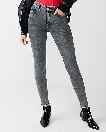 high waisted gray stretch ankle jean leggings