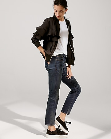 mid rise straight stretch jeans