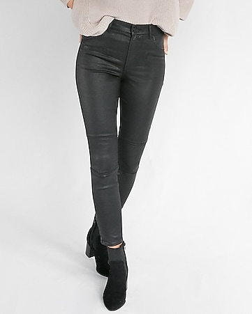 high waisted black coated stretch moto ankle leggings