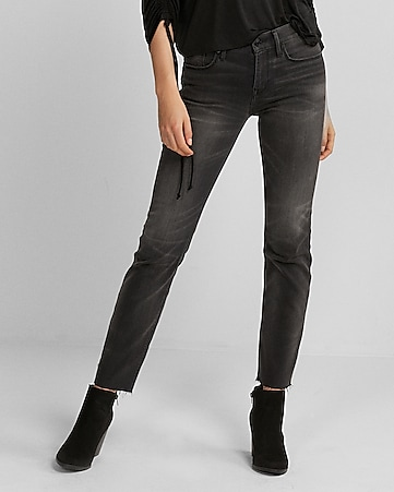 mid rise gray raw hem stretch straight leg jeans