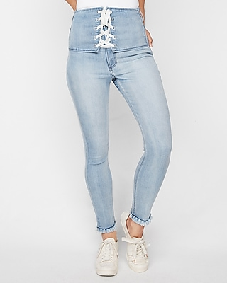 Super High Waisted Lace Up Front Stretch Ankle Jean Leggings by Express
