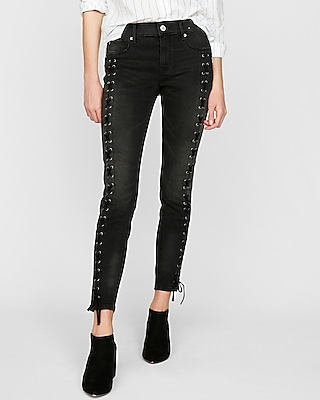 Mid Rise Black Lace Up Stretch Ankle Jean Leggings by Express