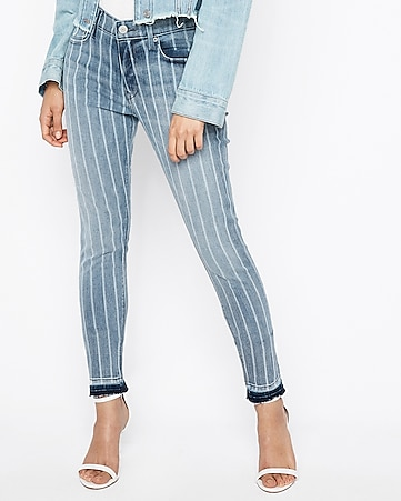 mid rise striped ankle jean leggings