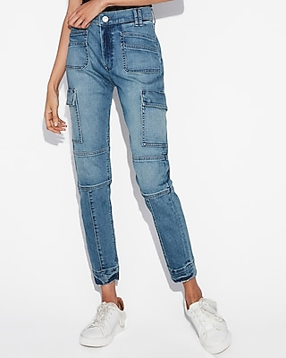 High Waisted Seamed Stretch+ Cargo Vintage Skinny Jean by Express