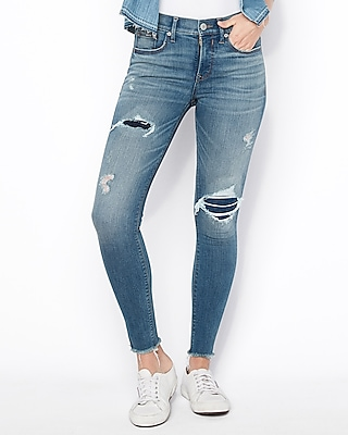 Petite mid rise denim perfect ripped ankle leggings