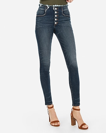 high waisted denim perfect button fly ankle leggings