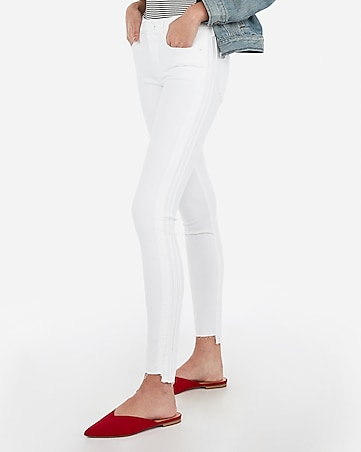 mid rise white side stitch ankle leggings