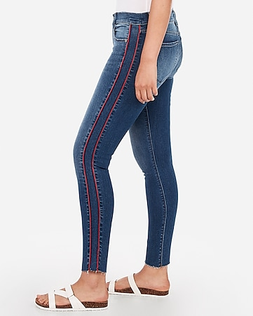 mid rise denim perfect side stripe raw ankle leggings