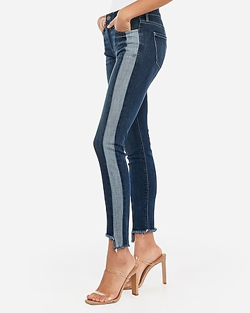 mid rise side stripe step hem ankle leggings