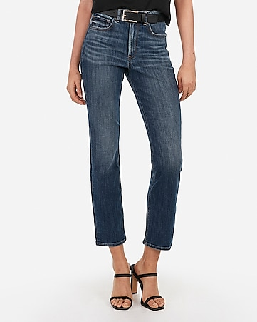 high waisted medium wash straight leg jeans
