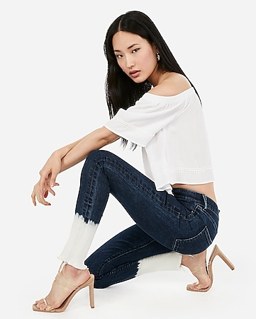 b267b4d7082ba0 Express View · mid rise denim perfect burnout ankle leggings