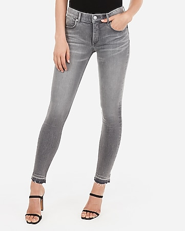 mid rise denim perfect lift raw hem grey ankle leggings