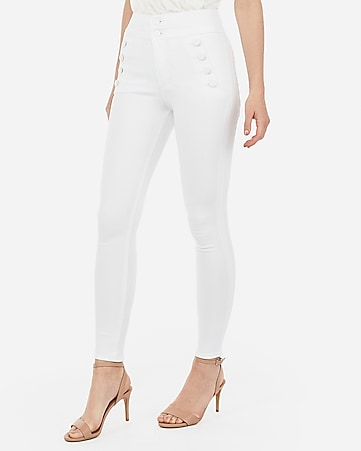 super high waisted denim perfect white button front ankle leggings